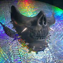 Black Half Face Skull Mask,Halloween Mask,Steampunk Spike Mask,Burning Man Mask