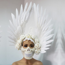 Burning Man Pearl Mask Skull Angel Feather Wig Headdress Head Pieces Costumes Festival Rave Clothes Outfits Gear Halloween Masquerade