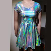 Summer Holographic Silver Circle Skater Dress Women Music Festival Rave Dress Clothes Outfits Vintage Boho Dresses Cute Dress