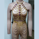Burning Man Rave Festival Clothes  Holographic Iridescent ScaleMaille Boho Body Chain Jewelry Outfits