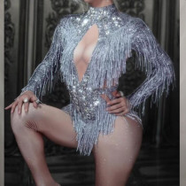 Burning Man Rhinestone Fringe Bodysuit Carnival Jumpsuit Performance Latin Dance Stage Show Outfits Drag Queen Costumes