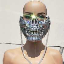 Burning Man Rave Costumes ,Streampunk Mask,Halloween Silver Studded Skull Mask, Cosplay Festival Clothes Outfits