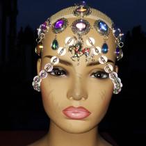 chain headpiece,vintage headpiece,jewelry headpiece,burning man rave headpiece