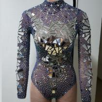 Drag Queen Costumes Rhinestone Mirror Burning Man Festival Bodysuit Jumpsuit Red Carpet Performance Party Celebrity