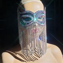 Rhinestone Chain Mask / Crystyal Fringe Leather Mask/ Gatsby Headpiece /Chain headpiece/Burning Man Headpiece/Cosplay Halloween Costumes