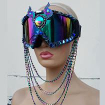 Studded Disco Goggles,goggles Mask,Chain Goggles, Music Festival Gear Burning Man Headpiece ,Cosplay Halloween Costumes