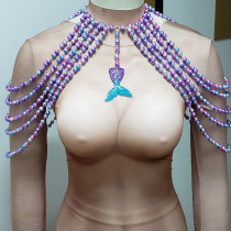Pearl Top,Mermaid Costume,Pearl Shoulder Piece,Pearl Body Chain,Carnival Costume, Festival Outfit ,Rave Top Clothing,Burning Man Outfits