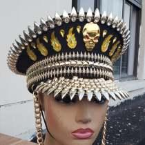 Gogo Dancer Burning Man Festival Captain Hat officer Hat Military Captains Rave Bespoke Hat Costumes Gypsy Boho Hippie Headpiece