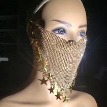 burning man rave metal net rhinestone bandanas mask