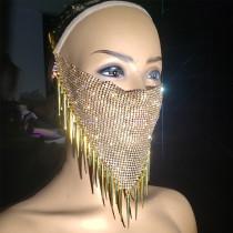 burning man rave metal net rhinestone bandanas mask spike fringe