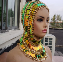 Stage Show Headpiece,Scalemaille Headpiece,EDM Headpiece,Carnival Costume ,Carnival Headpiece,Headchain,Face Chain Mask, Face Head Chain