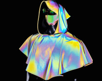 Medieval Hooded Rainbow Refective Capelet/Renaissance Cloak/Medieval Costume/Cosplay/reflective clothing/drag queen costume
