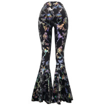 Rave Festival Holographic Rainbow Butterfly High Waist Wide Leg Pant Bell Bottoms Flare Yogo Pants Leggings