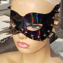 Holographic Reflective Black Spike Mask Rainbow EDM Dust Mask Burning Man Festival Rave Face Mask