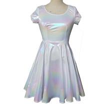 White Rainbow Holographic Skater Dress Women Music Festival Rave Dress Clothes Outfits Vintage Boho Dresses Cute Dress
