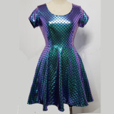 Summer Holographic Iridescent Mermaid Party Skater Dress Women Music Festival Rave Dress Clothes Outfits Vintage Boho Dresses Cute Dress