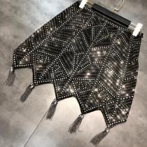 Full Cover Geometric Rhinestone Irregular Fringe Skirt