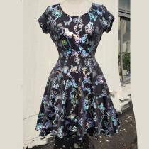 Summer Holographic ButterflyPrint Skater Circle Dress Women Music Festival Rave Dress Clothes Outfits Vintage Boho Dresses Cute Dress