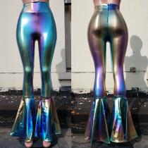 Rave Festival Holographic Rainbow Stripe High Waist Wide Leg Pant Bell Bottoms Flare Yogo Pants Leggings
