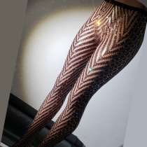 Sexy Crystal Rhinestone Lace Pantyhose Sparkly Dazzling Diamond Fishnet Tights