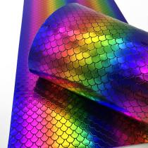 Rainbow Mermaid Scale PU Fux leather fabric material for handbag,DIY,body harness,appearl,costume Fabric