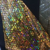 holographic circle Print PU mirror leather fabric material for handbag,DIY,body harness,appearl,costume