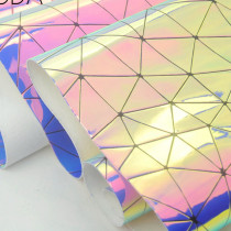 Geometric Iridescent holographic Mirror PU Fux leather fabric material for handbag,DIY,body harness,appearl,costume