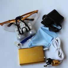 Dental medical Binocular Loupe +LED Portable Head Light 3.5x-420 Golden color