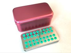 Dental 36 holes Aluminum disinfection box for burs autoclavable Red Silica gel