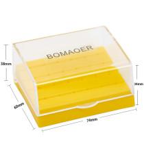Dental Yellow Color 24 Holes Plastic Bur Holder Burs Block Case Box