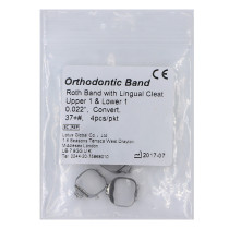 10X Orthodontic Roth Band with Lingual Cleat non-conv 0.022 37#+ U1 L1 4pcs/pkt