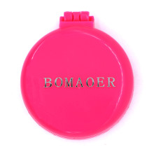 Rainbow Volume Massage Hair Brush Pocket Size Round Hair Brush Comb With Mirror Red color