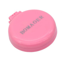 Rainbow Volume Massage Hair Brush Pocket Size Round Hair Brush Comb With Mirror Pink color