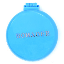Rainbow Volume Massage Hair Brush Pocket Size Round Hair Brush Comb With Mirror Blue color