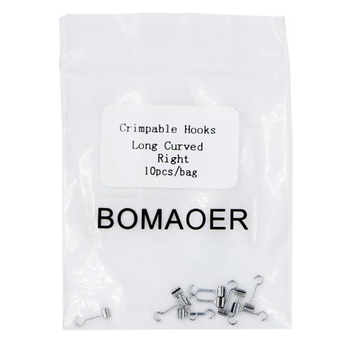 10 packs Dental Orthodontic Crimpable Hooks Long Curved right 10pcs/bag