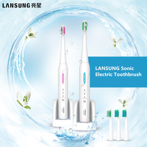 LANSUNG SN901 Ultrasonic Sonic Electric Toothbrush Rechargeable Tooth Brushes With 4 Pcs Replacement Heads 2 Minutes Timer Brush