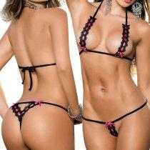 Charming Bra G-String Set Halter Bikini Lingerie Beachwear For Women