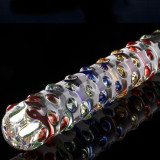 Crystal Glass Pleasure Wand Dildo Penis Rainbow Mege Nubby