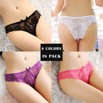 Women's 4 Colors Pack Sexy Lace Underwear See-Through Floral Panties Thongs Perfect Gift For Women