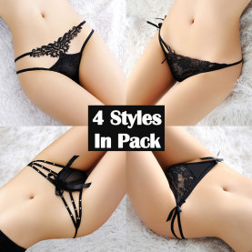 Women's 4 Different Styles Pack Panties Black Collection Sexy Low Rise G-String Thong Gift for Girlfriend