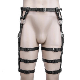 Leather Garter Harness Strappy Punk Clothing Adjustable Waist Leg Cincher Cage Belt