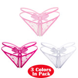 Women's 3 Colors Pack Sexy Massage Pearl G-String Thong Lace T-Back Panties Underwear