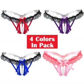 4 Colors Pack Sexy Massage Pearl G-String Thong Lace T-Back Panties Underwear For Women
