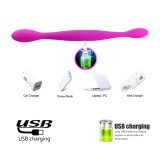 Dual Heads Vibrator USB Charging Bendable Sex Toy For Lesbian Couples