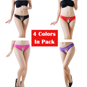Women's 4 Colors Pack Crotchless Panties Sexy Lace Underwear Cute Breathable Floral Thong Perfect Gift For Girlfriend