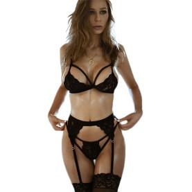 Women's Sexy Lingerie Babydoll Set Lace Bra Garter Belt G-String Bodysuit 3pcs Pack Gift for Girlfriend
