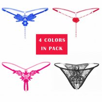 Women's Sexy Pearl Thong Crotchless Mesh Floral G-String 4 Different Patterns/Pack
