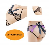 Women's Sexy Crotchless Panties See Though Underwear Open Back Lace Bodyshorts 2 Colors/Pack