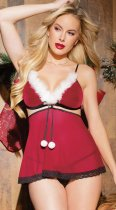 Women's Christmas Lingerie Red Santa Babydoll Chemise Set