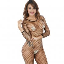 Women's Crotchless Fishnet Bodystocking Sexy Lingerie High Elasticity Long Sleeve Tights Bodysuit
